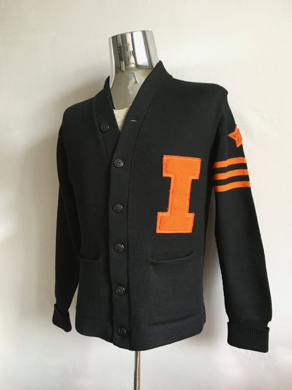 Vintage Men S 40 S Hl Whiting Co Letterman Sweater Black Orange Long Sleeve S M By Freshandswanky On Ets Letterman Sweaters Knitwear Men Letterman Jacket