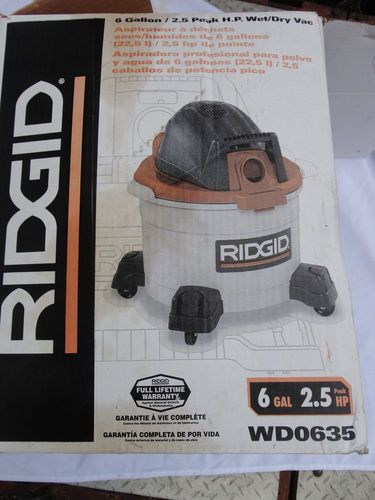 New Ridgid 6 Gallon Shop Vac 2 5hp Wet Dry Wd 0635 Find Me