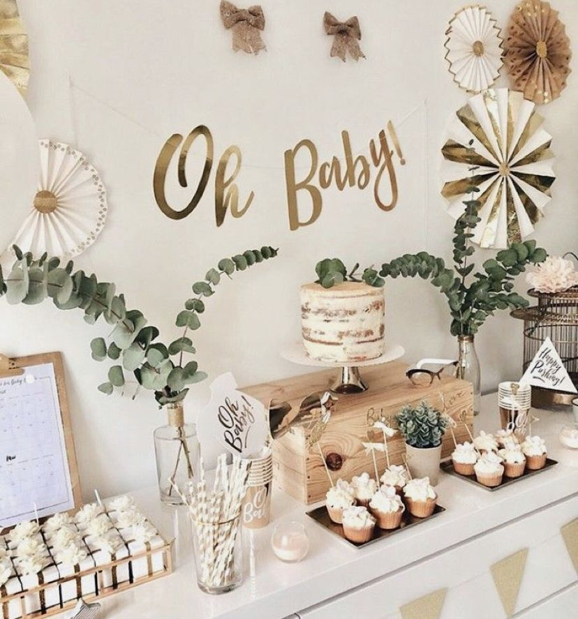 Gold, Green and Hessian baby Shower decor.