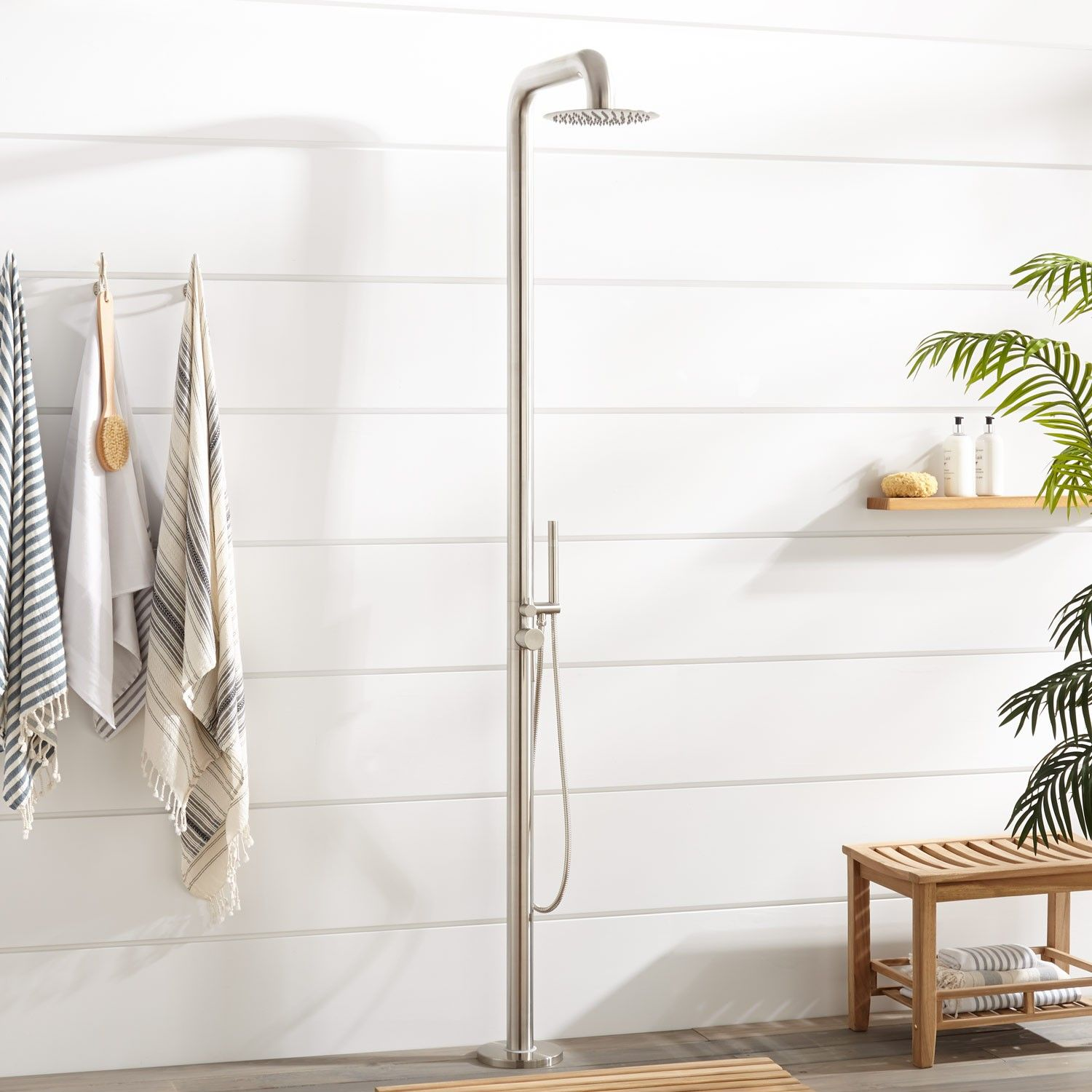 Cavendish Thermostatic Freestanding Outdoor Shower With Brass Hand
