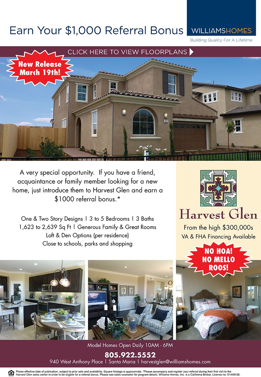New Homes For Sale In Santa Maria California Refer A Friend To Harvest Glen And Receive 1 000 New Release Ma New Home Builders New Homes New Homes For Sale