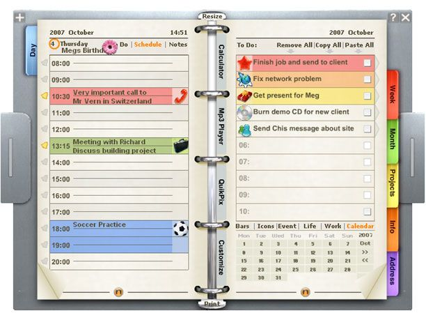 Just like a real personal organizer Customize with downloadable