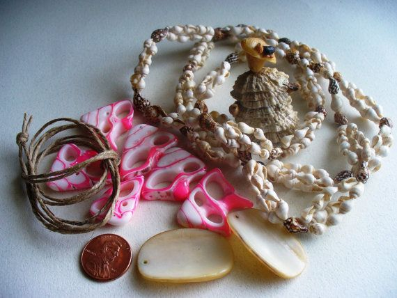 Vintage Destash Beads Sea Shells Beach Upcycling by kzannoart, $5.00
