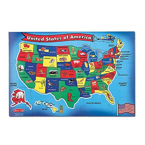 Melissa  Doug USA United States Map Floor Puzzle WipeClean Surface Teaches Geography