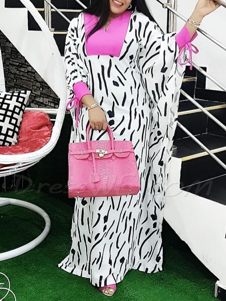 $29.99 Dresswe.com SUPPLIES Long Sleeve Floor-Length Print High Waist A-Line Womens Dress