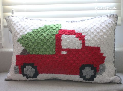 Crochet C2C Pickup Truck Tree Pillow - Repeat Crafter Me