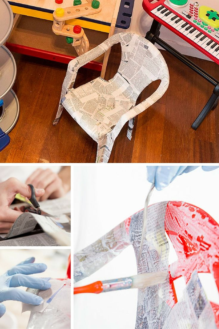 Silla De Plástico Decorada Tienes Papel De Periódico Por Casa Recíclalo Y Convierte Una Silla De Pl Sillas De Plástico Muebles De Cartón Decoración De Unas