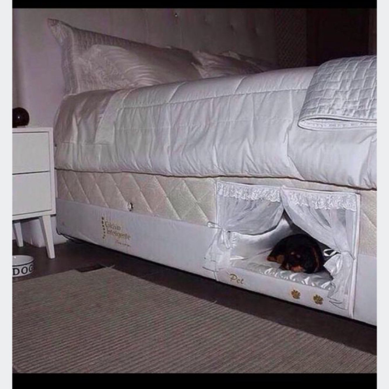 Dog or Cat bed that's attached to your bed. pets animals