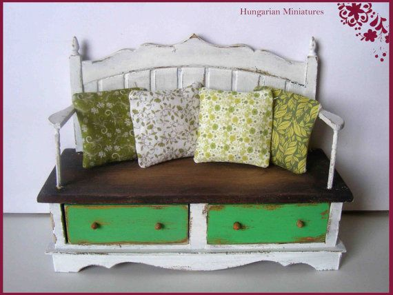 Shabby white bench with pillows by hungarianminiatures on Etsy, $175.00