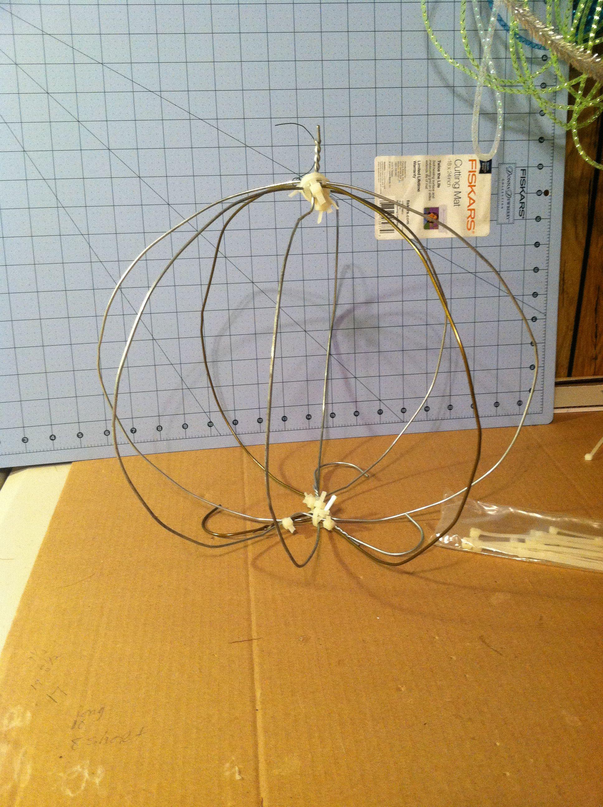 Made work ball for deco mesh pumpkin using wire hangers, zip ties ...