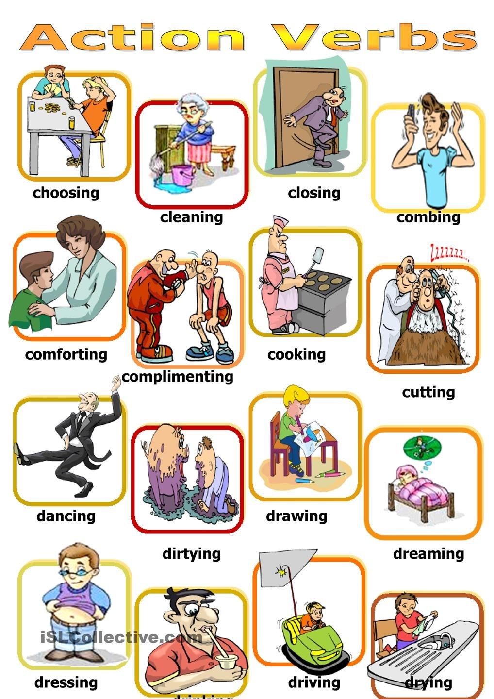 Action verbs board game | poon | Pinterest