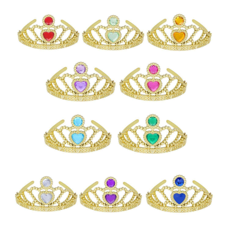 (10 Pack) Princess Tiara Multi-color (Gold tiara mix color)