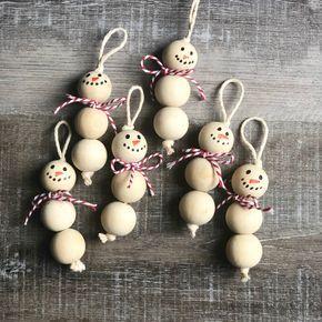 Photo of Wood Bead Snowman Ornaments
