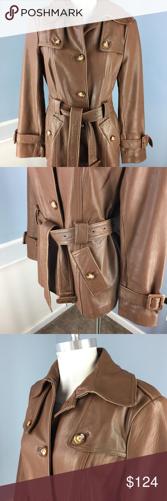 Neiman Marcus L Brown genuine Leather Trench Coat super