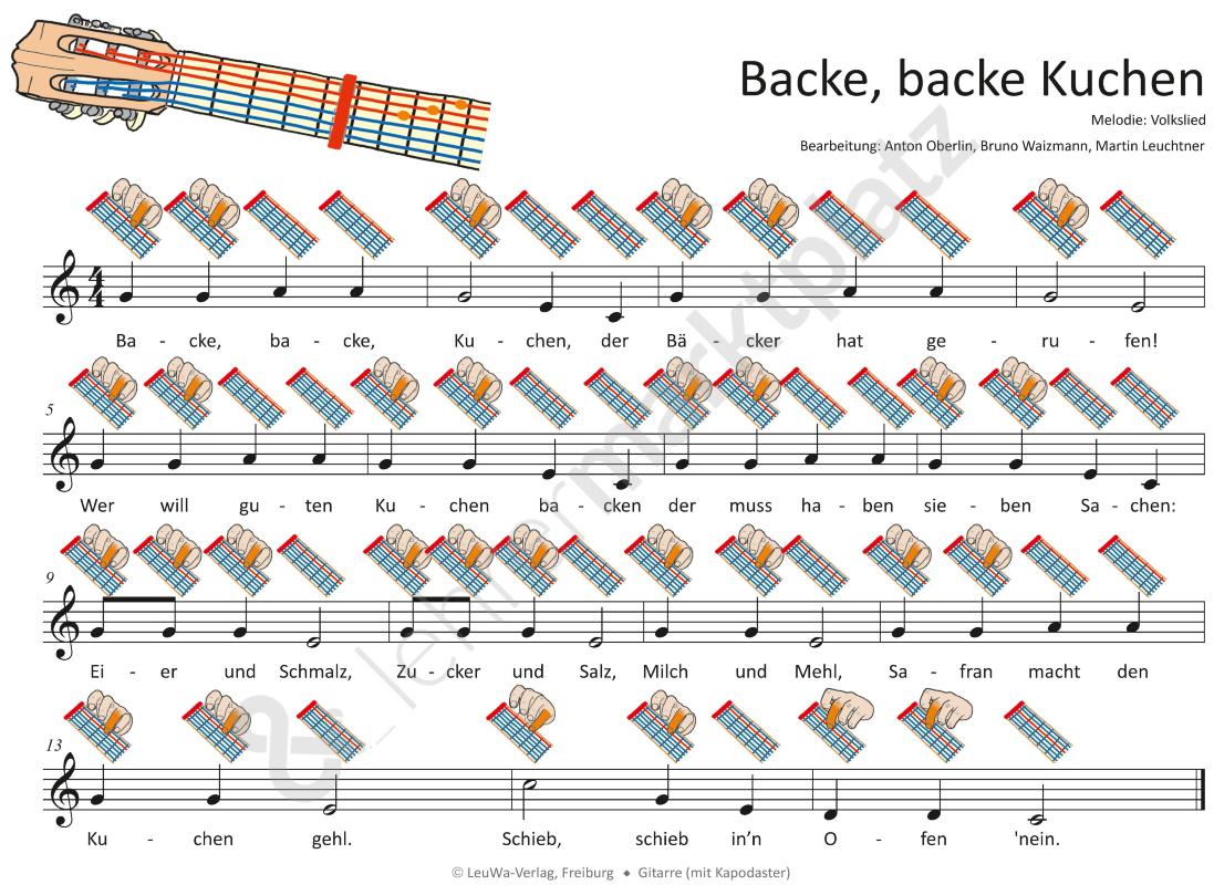 Backe Backe Kuchen Mp3 Dateien Noten Fur Klavier Melodica