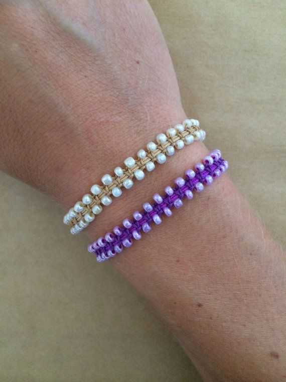 Tiny Glass Bead Macrame Friendship Bracelet with by IzouBijoux