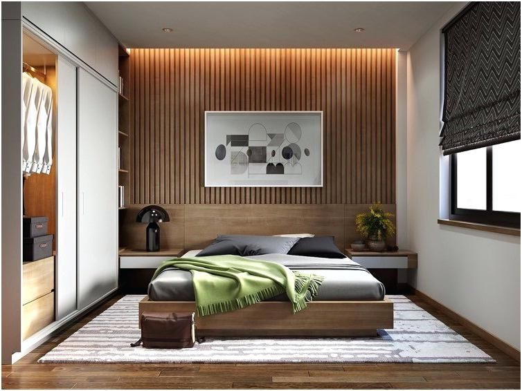 Wood Slat Wall Wooden Slats Modern Bedroom Walls Contemporary Bedroom Modern Bedroom Design Apartment Interior