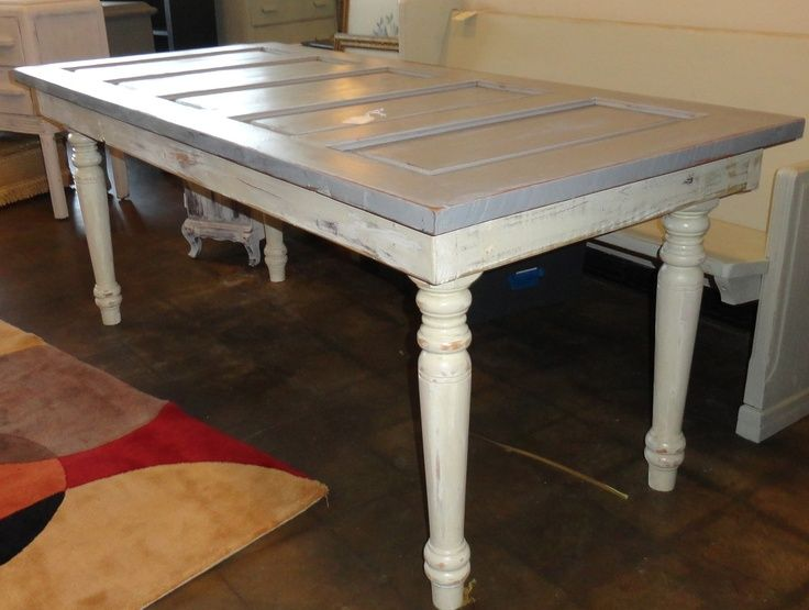 Old Door Table---LOVE the paint technique on the base & pinterest kitchen table ideas | Via Homewood Antiques ...