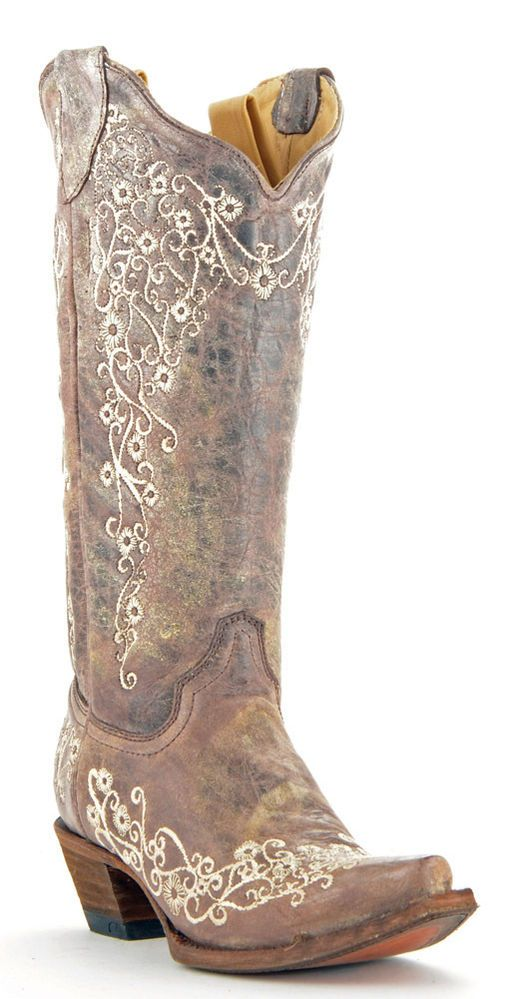 Details about Womens Corral Boots Brown/Bone Wedding Embroidered ...