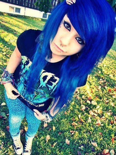 Awesome blue emo hair.