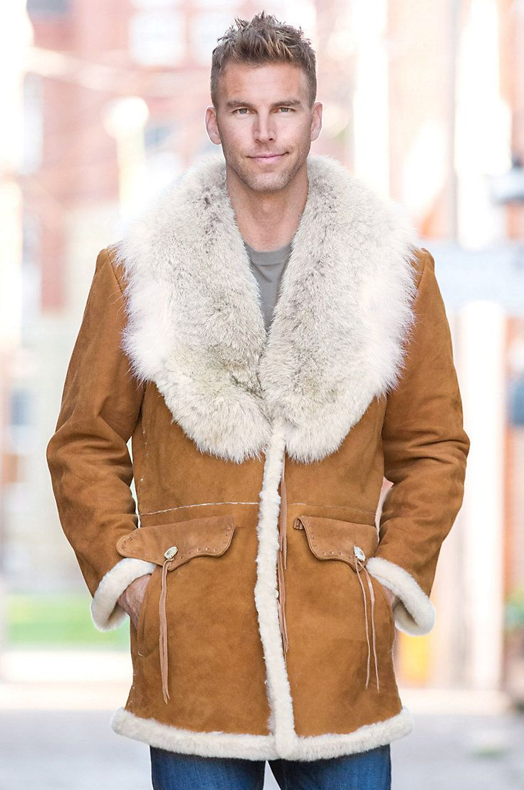 Arthur Shearling Sheepskin Coat with Coyote Fur Collar | Sheepskin ...
