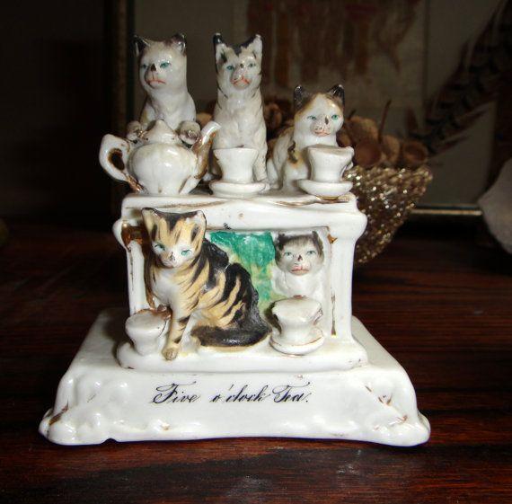 Victorian Fairing Cats at Five Oclock Tea Conta by AskMeDecor