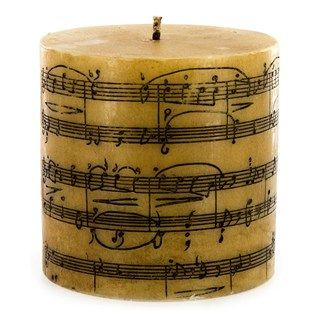 Superior Tan Music Notes Pillar Candle, UNSCENTED Good Looking