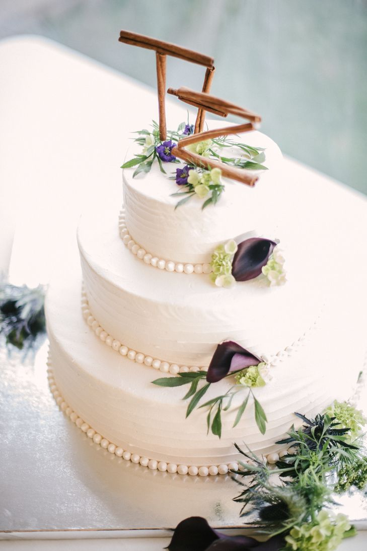 Nature Inspired Buttercream Wedding Cake With Cinnamon Stick Toppers