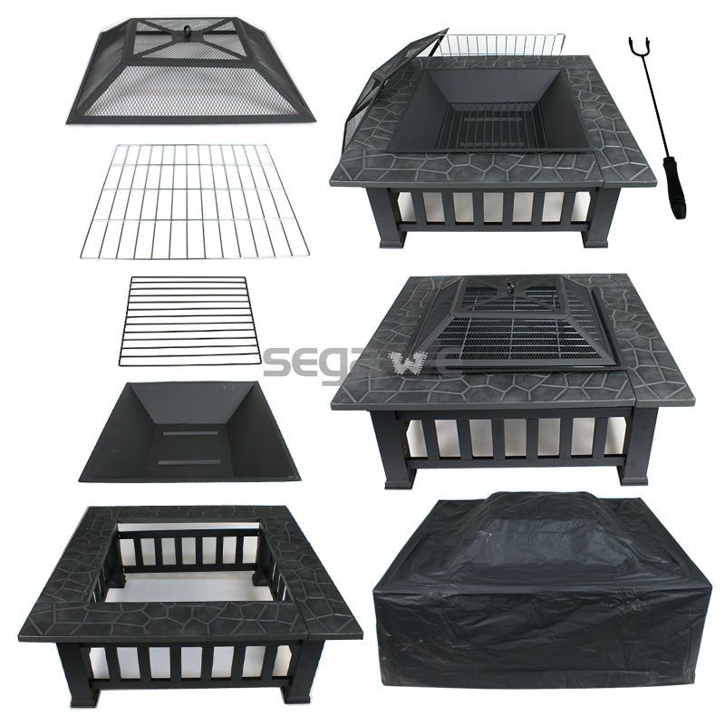Square Fire Pit Outdoor Patio Metal Heater Deck Backyard Fireplace W Cover 32 Fire Pit Backyard Fire Pit Patio Fire Pit With Rocks