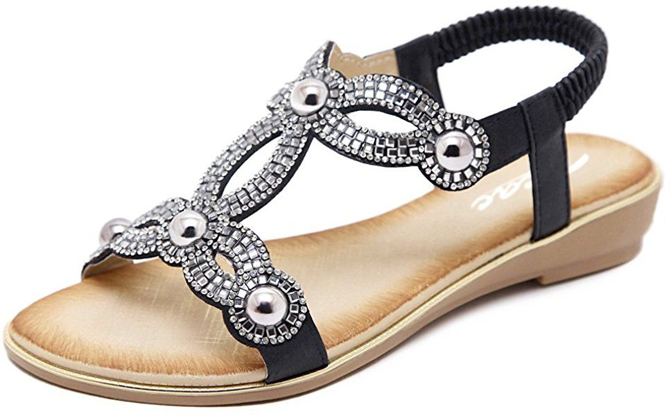 c7f6049e8f9 Zicac Ladies Open Toe Rhinestone Flip Flop Sandals Summer Low Flat Heel Beach  Shoes (UK