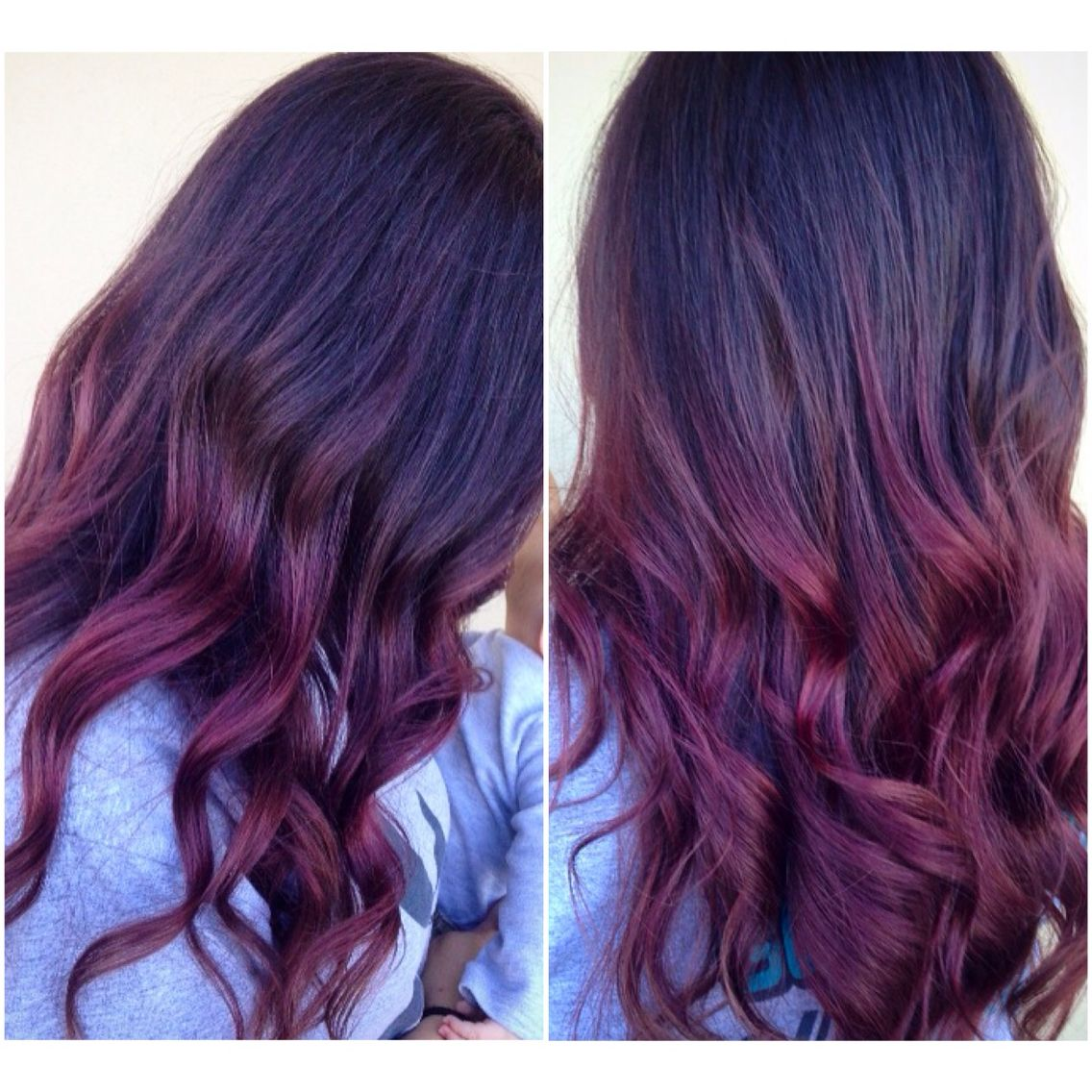 Red Violet Ombre Balayage Hair Purple Ombre Hair Brunette Balayage Hair