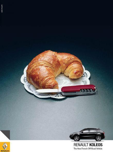 sm5의 수출명 Koleos의 해외 광고  크라상과 스위스 아미 나이프  어떤 사람을 위한 차인지 한 눈에 알 수 있는 크리에이티브