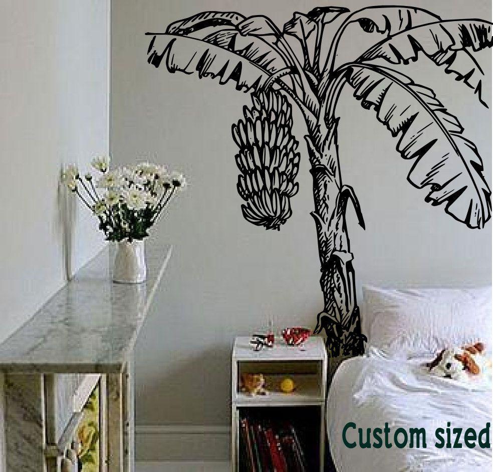 Tropical Banana Tree Too Cool Detailed Island Drawing Mural