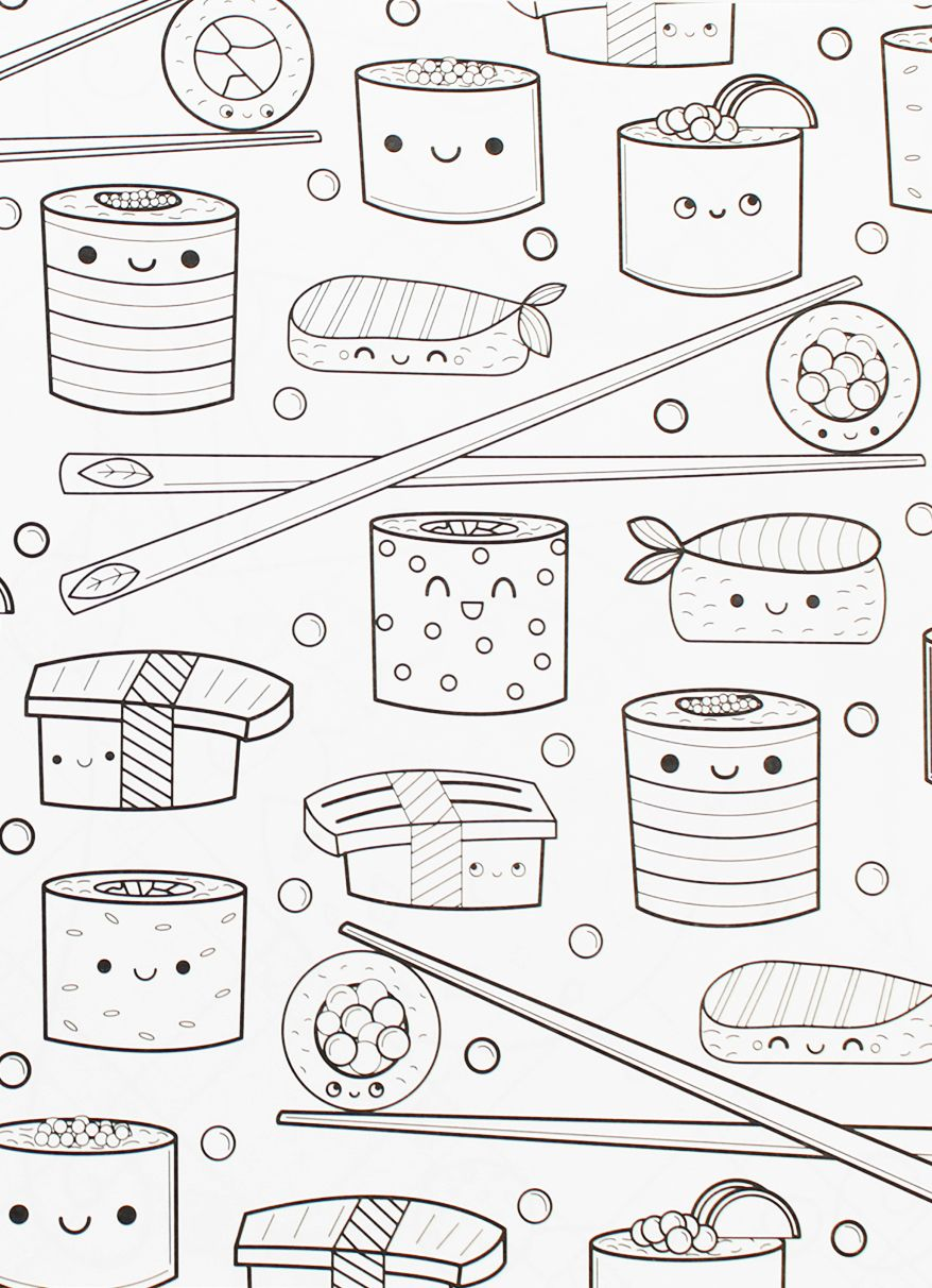 Another Delicious Page From Our Line Of Coloring Books For Adults The Kawaii Smilling Sushi Snacks A Personal Favorite