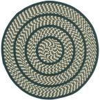 Braided Ivory/Dark Green 4 ft. x 4 ft. Round Area Rug