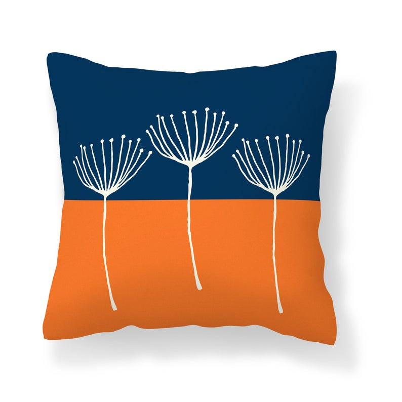 Orange Navy Throw Pillow Cover Pillow Covers Pillow Cases Etsy Blue Throw Pillows Navy Blue Throw Pillows Pillows Orange and blue outdoor pillows