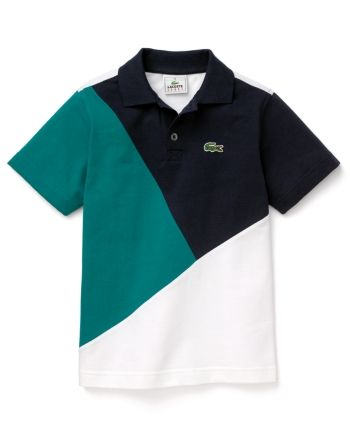 Lacoste Boys Diagonal Color Block Polo – Sizes 4-16 – Eclipse/White-mallard Green