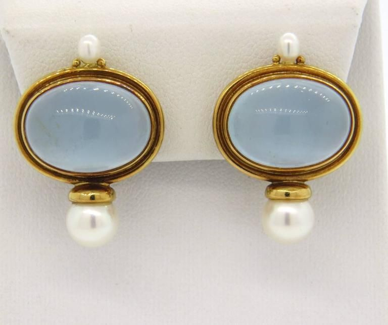 Elizabeth Gage Milky Aquamarine Pearl 18K Yellow Gold Earrings | eBay