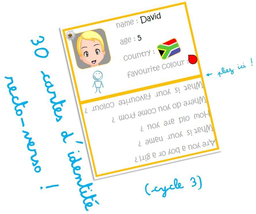 Souvent Jeux autour des cartes d'identité pour se présenter en Anglais  SA56