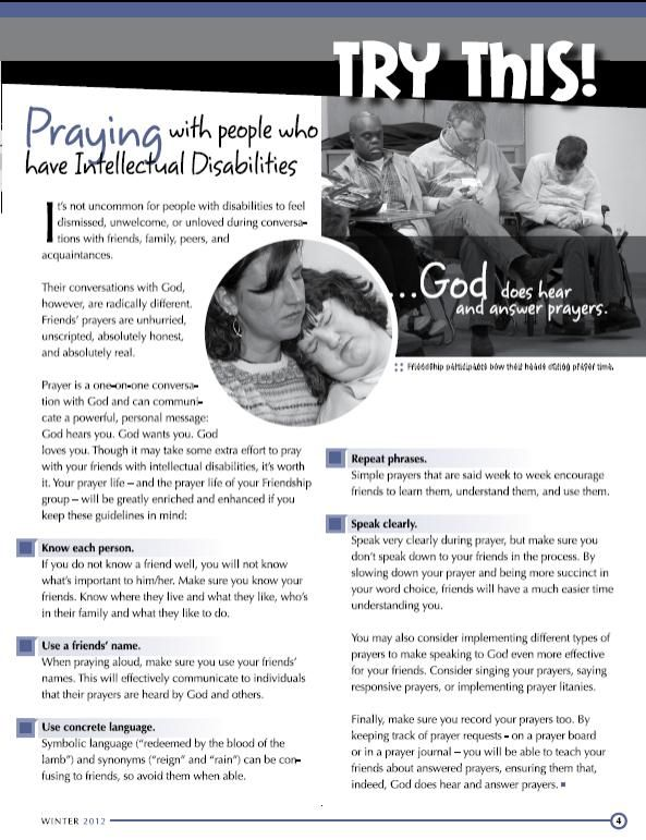 Praying with those with intellectual disabilities