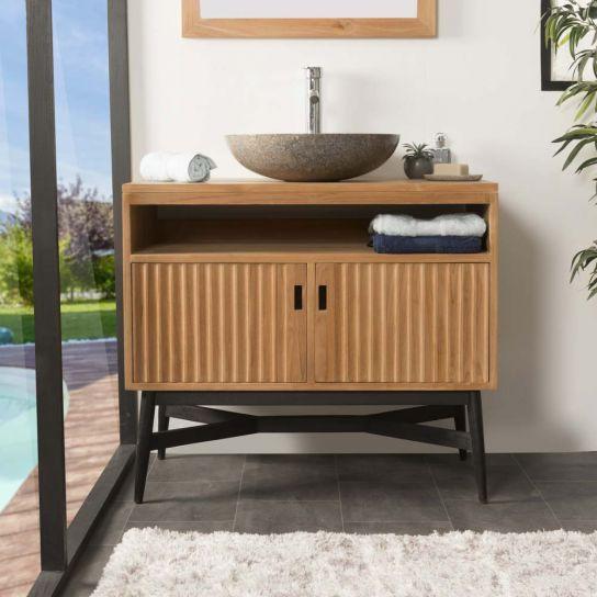Mueble de teca para cuarto de baño MYA 90 CM | Meuble sous ...