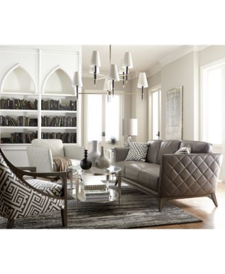 Kourtney Quilted Side Leather Sofa Collection Only At Macy S Macys
