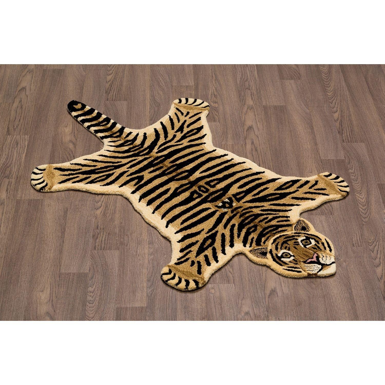 Hand-tufted Tiger Skin Shape Wool Rug (3' X 5') (Tiger