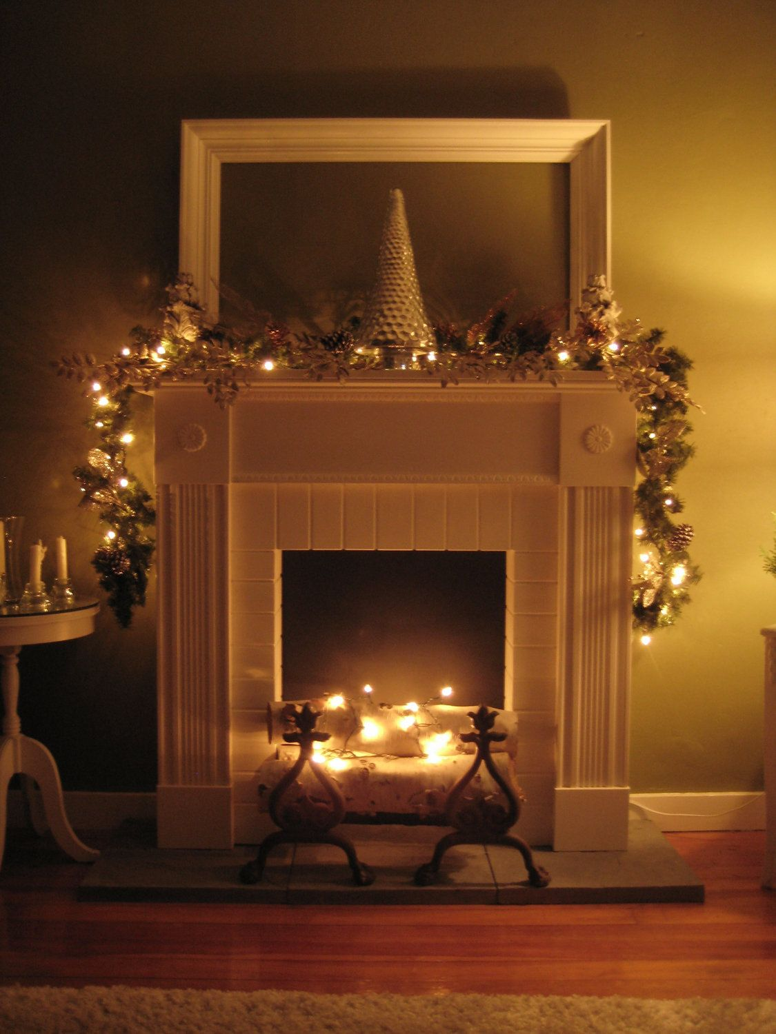 Faux Fireplace and Mantel in White $600 00 via Etsy