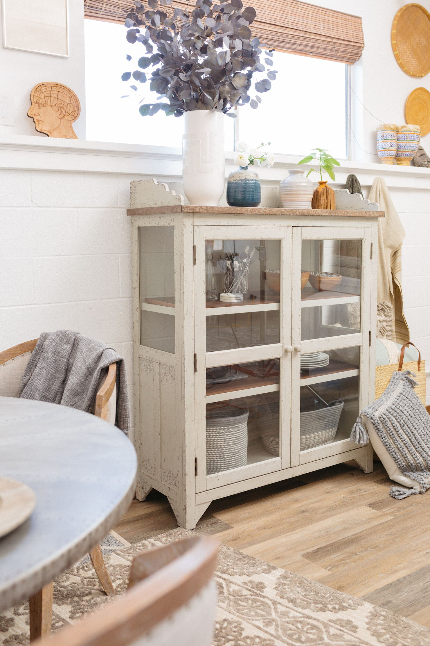Two Door Casual Accent Curio In Weathered White White Furniture