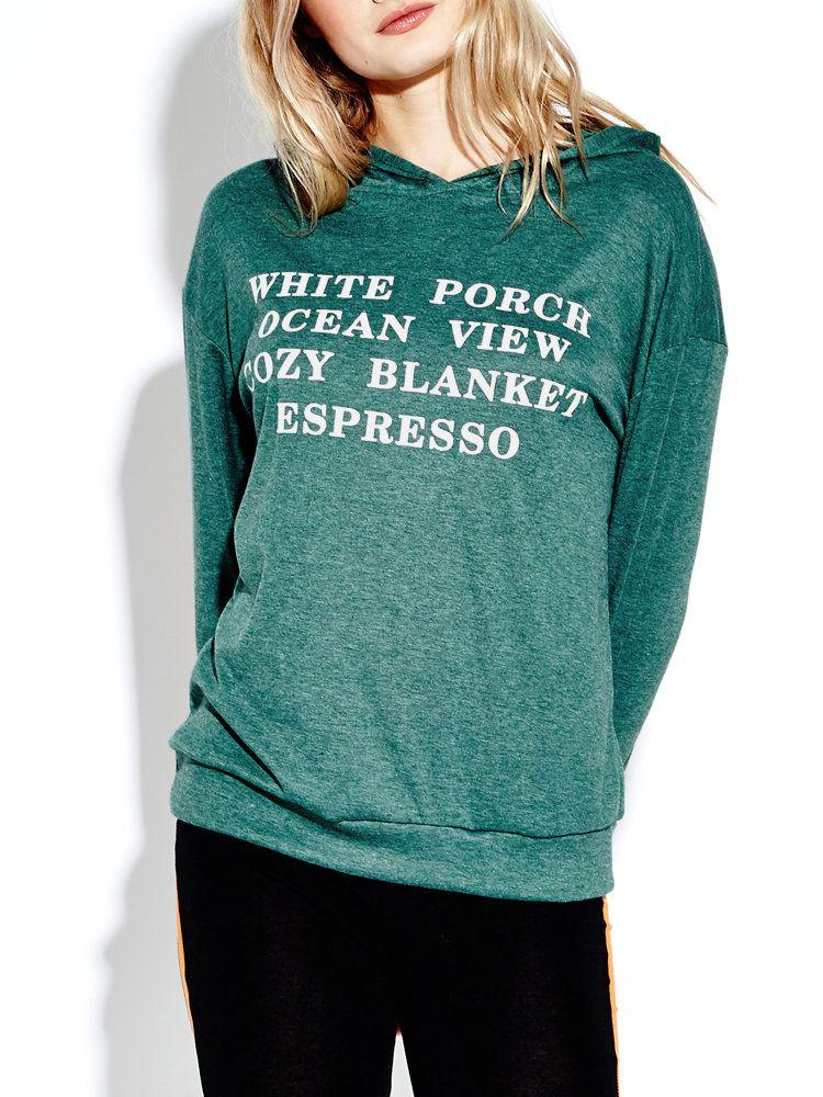 Women Long Sleeve Leter Printed Pure Color Hooded Sweatshirt