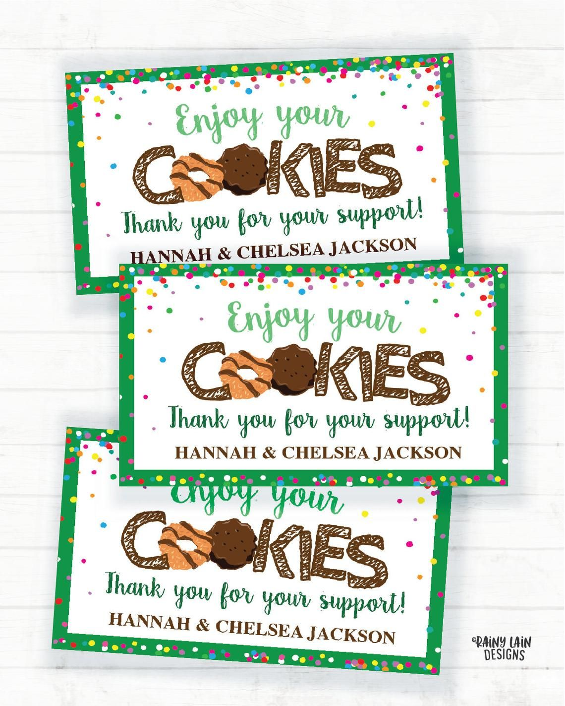 Cookie Thank You Note Editable Cookies Thank You Card Etsy Girl Scout Cookies Booth Girl Scout Cookie Sales Girl Scout Mom