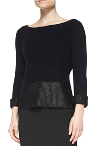Vince - Foil-Print Boat-Neck Sweater: When you're heading out to a casual get together, one of our favorite ways to dress for the season is by adding a bit of sparkle to a casual piece, like a sweater.
