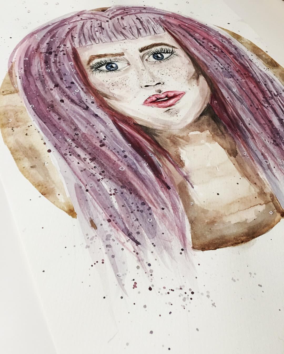 Sieh dir dieses Instagram-Foto von @annikaangeliqua an • Gefällt 48 Mal Art by annikaangeliqua girl purple watercolor aquarelle