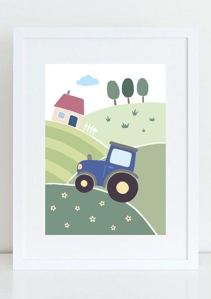 Bilder Kinderbild Blauer Traktor Kinder Poster Bauernhof